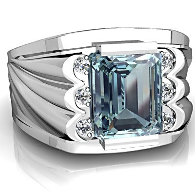 Vintage Emerald cut Aquamarine Ring for Men