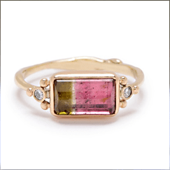 Watermelon Tourmaline in Gold ring