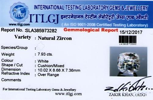 ITLGJ Certified White Zircon