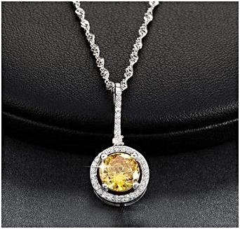 Round cut Yellow Zircon pendant